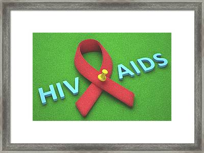 Aids Red Ribbon Framed Print