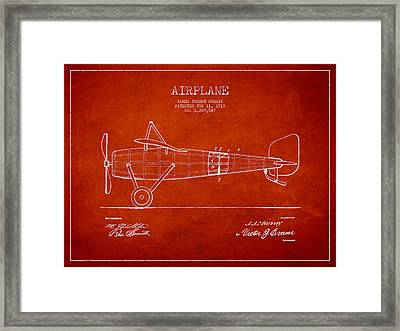 Airplane Patent Drawing From 1918 Framed Print by Aged Pixel
