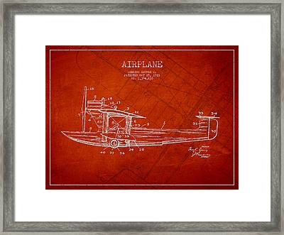 Airplane Patent Drawing From 1921 Framed Print by Aged Pixel