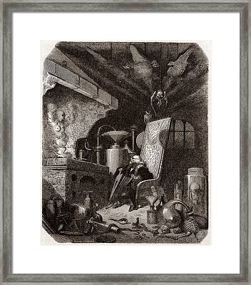 Alchemist At Work, 19th Century Framed Print by Science Photo Library