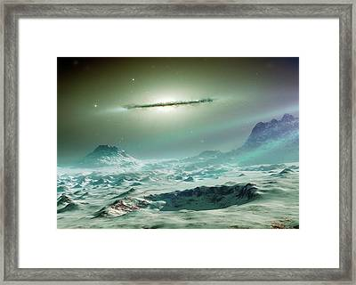 Alien Planet And Galaxy Framed Print by Detlev Van Ravenswaay