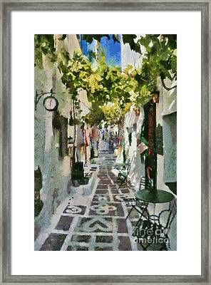 Alley In Ios Town Framed Print