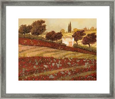 altri papaveri in Toscana Framed Print by Guido Borelli