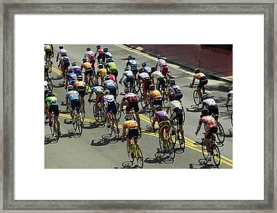 Amateur Men Bicyclists Competing Framed Print