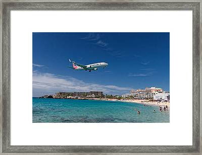 American Airlines At St Maarten Framed Print by David Gleeson