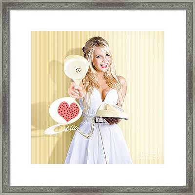 American Girl In Pinup Fashion With Retro Phone Framed Print by Jorgo Photography - Wall Art Gallery