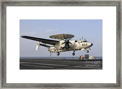 An E-2c Hawkeye Landing On The Flight Framed Print