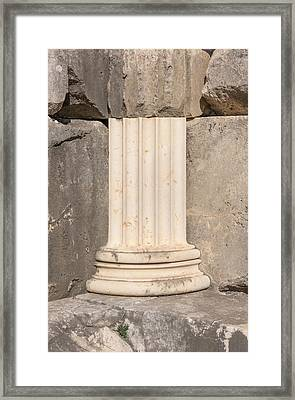 Anastylosis Of Temple Column At Letoon Framed Print