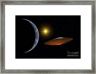 Ancient Aliens Arriving Towards Earth Framed Print by Stocktrek Images