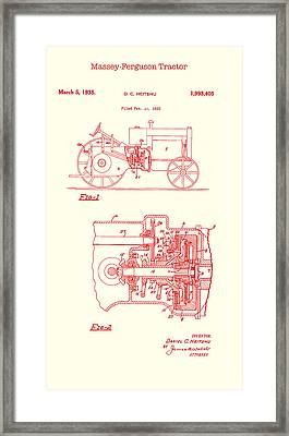 Antique Massey-ferguson Tractor Patent 1935 Framed Print by Mountain Dreams