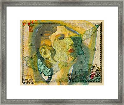 Aphrodite And Ancient Cyprus Map Framed Print