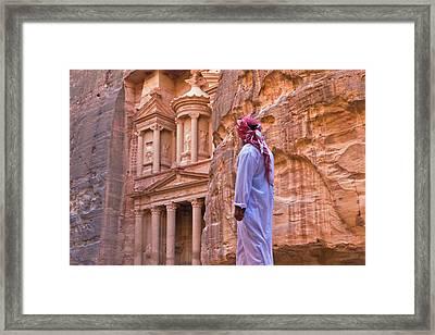 Arab Man Watching Facade Of Treasury Framed Print by Keren Su
