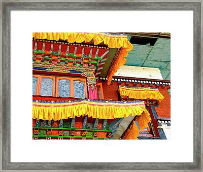 Art In Buddhist Monastery Architecture Framed Print by Jaina Mishra