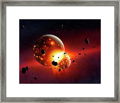Artwork Of The Early Earth-moon System Framed Print by Mark Garlick
