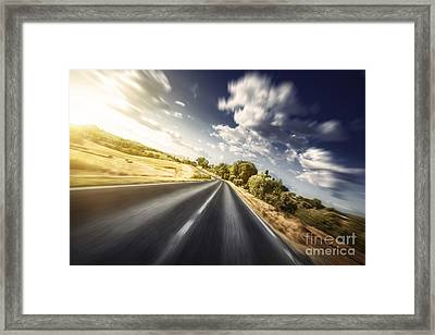 Asphalt Road In Field Against Moody Framed Print by Evgeny Kuklev