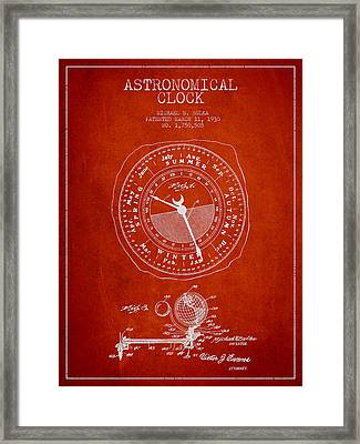 Astronomical Clock Patent From 1930 Framed Print by Aged Pixel