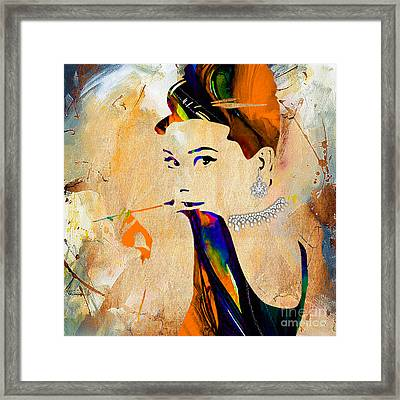 Audrey Hepburn Diamond Collection Framed Print by Marvin Blaine