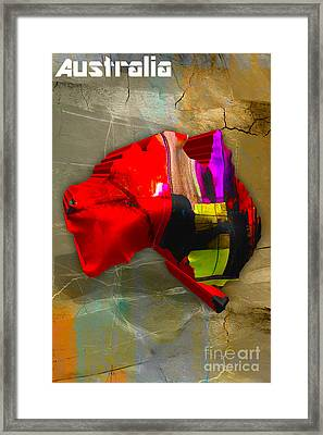 Australia Map Watercolor Framed Print