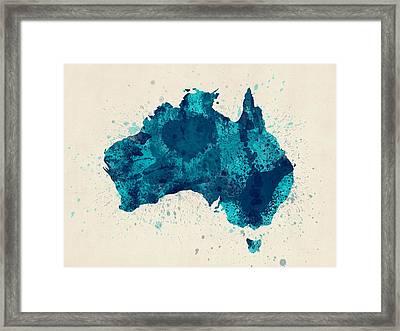Australia Paint Splashes Map Framed Print by Michael Tompsett