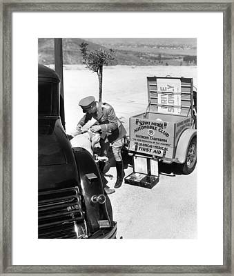 Auto Service Patrol Gives Aid Framed Print by Underwood Archives