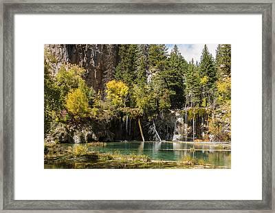 Autumn At Hanging Lake Waterfall - Glenwood Canyon Colorado Framed Print by Brian Harig