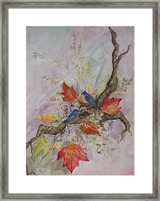 Autumn Bluebirds Framed Print