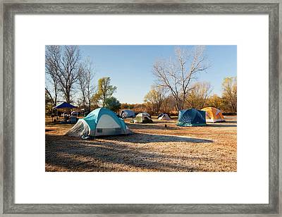 Autumn Camping At Copper Breaks State Framed Print by Larry Ditto