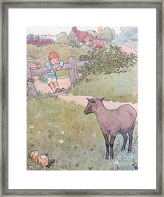 Baa Baa Black Sheep Framed Print by Leonard Leslie Brooke