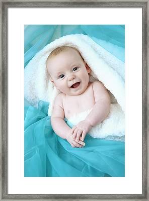 Baby Boy Looking At Camera Framed Print by Ruth Jenkinson