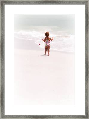 Framed Print featuring the digital art Baby Chases Red Ball by Valerie Reeves