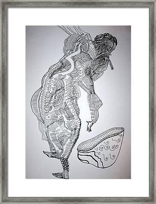 Framed Print featuring the drawing Bakiga Dance - Uganda by Gloria Ssali