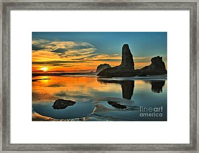 Bandon Beach Sunset Framed Print by Adam Jewell