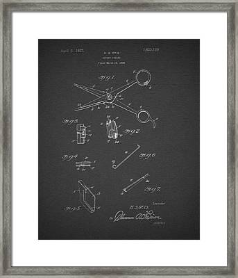 Barber Shears Patent 1927 Framed Print by Mountain Dreams