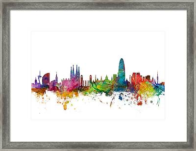 Barcelona Spain Skyline Framed Print
