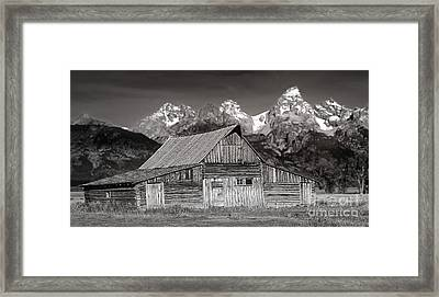 Barn And Tetons Framed Print by Jerry Fornarotto