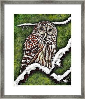 Framed Print featuring the painting Barred Owl by VLee Watson