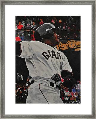 Barry Bonds World Record Breaking Home Run Framed Print by Ruben Barbosa