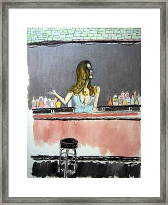 Framed Print featuring the painting Bartender by J Anthony