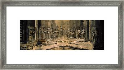Bas Relief In A Temple, Angkor Wat Framed Print