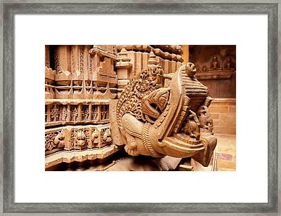 Bas Relief Jain Temple Golden Sandstone Framed Print by Tom Norring