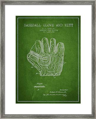 Baseball Glove Patent Drawing From 1924 Framed Print