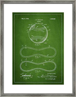 Baseball Patent Drawing From 1927 Framed Print by Aged Pixel