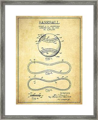 Baseball Patent Drawing From 1928 Framed Print