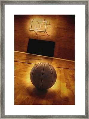 Basketball And Basketball Court Framed Print by Lane Erickson
