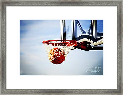Basketball Shot Framed Print by Lane Erickson