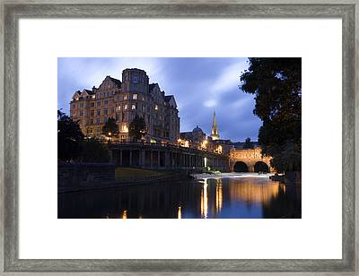 Bath City Spa Viewed Over The River Avon At Night Framed Print by Mal Bray