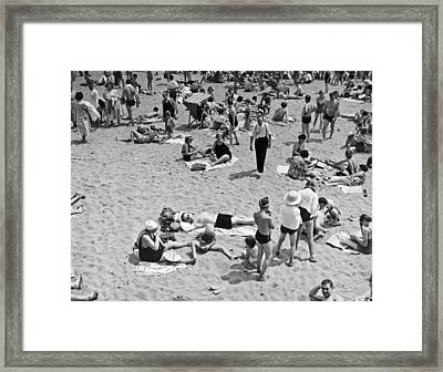 Bathers At Coney Island. Framed Print by Underwood Archives