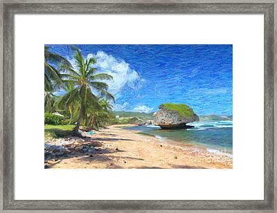 Bathsheba Beach In Barbados Framed Print