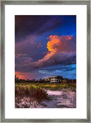 Beach Front Rain Framed Print by Marvin Spates