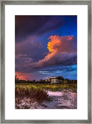 Beach Front Rain Framed Print